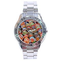 Colorful Oriental Bowls On Local Market In Turkey Stainless Steel Analogue Watch by BangZart