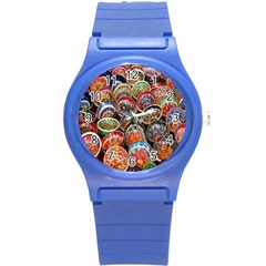 Colorful Oriental Bowls On Local Market In Turkey Round Plastic Sport Watch (s) by BangZart
