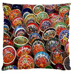 Colorful Oriental Bowls On Local Market In Turkey Large Cushion Case (two Sides)