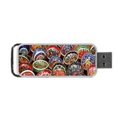 Colorful Oriental Bowls On Local Market In Turkey Portable Usb Flash (one Side) by BangZart