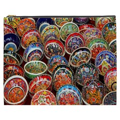 Colorful Oriental Bowls On Local Market In Turkey Cosmetic Bag (xxxl)  by BangZart