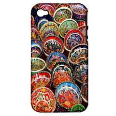 Colorful Oriental Bowls On Local Market In Turkey Apple Iphone 4/4s Hardshell Case (pc+silicone)