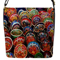 Colorful Oriental Bowls On Local Market In Turkey Flap Messenger Bag (s) by BangZart