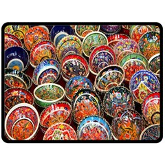 Colorful Oriental Bowls On Local Market In Turkey Double Sided Fleece Blanket (large)  by BangZart