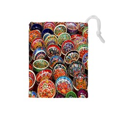 Colorful Oriental Bowls On Local Market In Turkey Drawstring Pouches (medium)