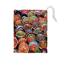 Colorful Oriental Bowls On Local Market In Turkey Drawstring Pouches (large)  by BangZart