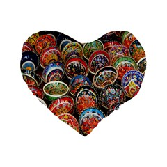 Colorful Oriental Bowls On Local Market In Turkey Standard 16  Premium Flano Heart Shape Cushions by BangZart