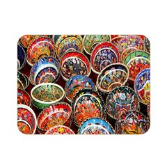 Colorful Oriental Bowls On Local Market In Turkey Double Sided Flano Blanket (mini)  by BangZart
