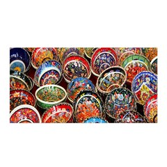 Colorful Oriental Bowls On Local Market In Turkey Satin Wrap by BangZart
