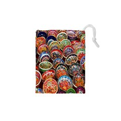 Colorful Oriental Bowls On Local Market In Turkey Drawstring Pouches (xs)  by BangZart