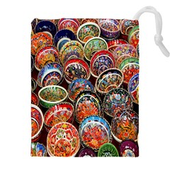 Colorful Oriental Bowls On Local Market In Turkey Drawstring Pouches (xxl)