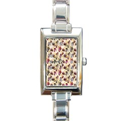 Random Leaves Pattern Background Rectangle Italian Charm Watch by BangZart