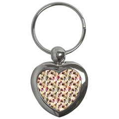 Random Leaves Pattern Background Key Chains (heart)  by BangZart