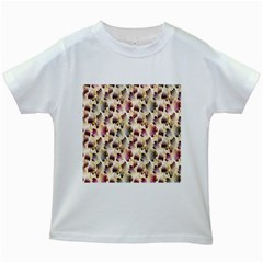 Random Leaves Pattern Background Kids White T Shirts