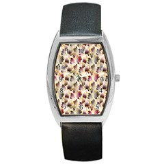 Random Leaves Pattern Background Barrel Style Metal Watch