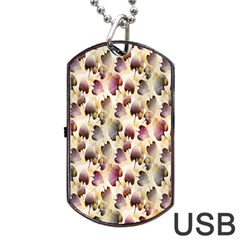 Random Leaves Pattern Background Dog Tag Usb Flash (one Side) by BangZart