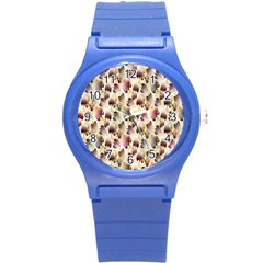 Random Leaves Pattern Background Round Plastic Sport Watch (s) by BangZart