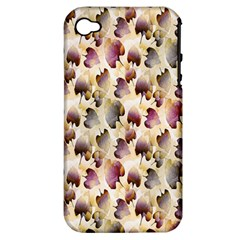 Random Leaves Pattern Background Apple Iphone 4/4s Hardshell Case (pc+silicone) by BangZart