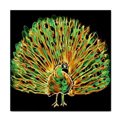 Unusual Peacock Drawn With Flame Lines Tile Coasters by BangZart
