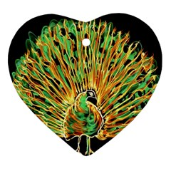 Unusual Peacock Drawn With Flame Lines Ornament (heart)