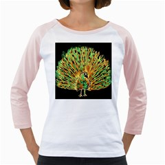 Unusual Peacock Drawn With Flame Lines Girly Raglans