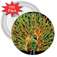Unusual Peacock Drawn With Flame Lines 3  Buttons (100 Pack)