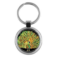 Unusual Peacock Drawn With Flame Lines Key Chains (round)