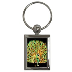 Unusual Peacock Drawn With Flame Lines Key Chains (rectangle)  by BangZart