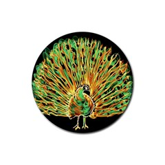 Unusual Peacock Drawn With Flame Lines Rubber Round Coaster (4 Pack)  by BangZart