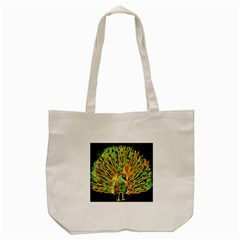 Unusual Peacock Drawn With Flame Lines Tote Bag (cream) by BangZart