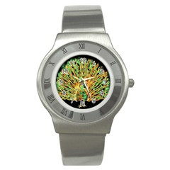 Unusual Peacock Drawn With Flame Lines Stainless Steel Watch by BangZart