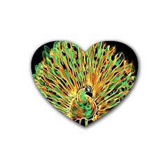Unusual Peacock Drawn With Flame Lines Rubber Coaster (heart)  by BangZart