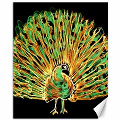 Unusual Peacock Drawn With Flame Lines Canvas 11  X 14   by BangZart