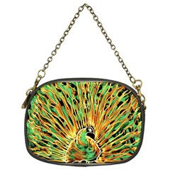 Unusual Peacock Drawn With Flame Lines Chain Purses (one Side)