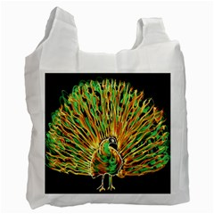 Unusual Peacock Drawn With Flame Lines Recycle Bag (one Side)