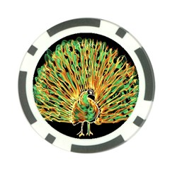 Unusual Peacock Drawn With Flame Lines Poker Chip Card Guard (10 Pack)