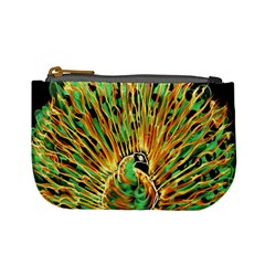 Unusual Peacock Drawn With Flame Lines Mini Coin Purses by BangZart