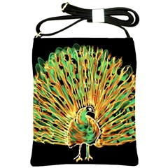 Unusual Peacock Drawn With Flame Lines Shoulder Sling Bags by BangZart