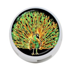 Unusual Peacock Drawn With Flame Lines 4 Port Usb Hub (two Sides)  by BangZart