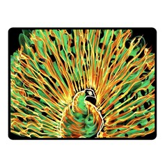 Unusual Peacock Drawn With Flame Lines Fleece Blanket (small) by BangZart