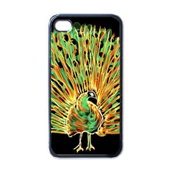 Unusual Peacock Drawn With Flame Lines Apple Iphone 4 Case (black) by BangZart