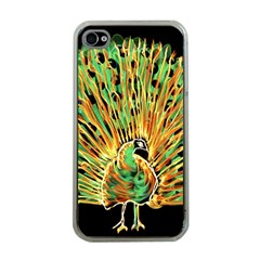 Unusual Peacock Drawn With Flame Lines Apple Iphone 4 Case (clear)