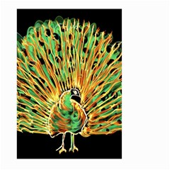 Unusual Peacock Drawn With Flame Lines Large Garden Flag (two Sides) by BangZart