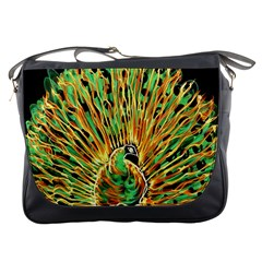 Unusual Peacock Drawn With Flame Lines Messenger Bags by BangZart