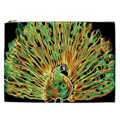 Unusual Peacock Drawn With Flame Lines Cosmetic Bag (xxl)  by BangZart
