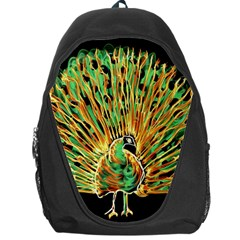 Unusual Peacock Drawn With Flame Lines Backpack Bag by BangZart