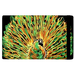Unusual Peacock Drawn With Flame Lines Apple Ipad 2 Flip Case by BangZart