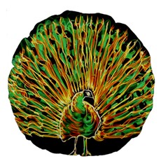 Unusual Peacock Drawn With Flame Lines Large 18  Premium Round Cushions by BangZart