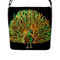 Unusual Peacock Drawn With Flame Lines Flap Messenger Bag (l)  by BangZart