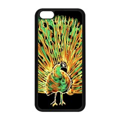 Unusual Peacock Drawn With Flame Lines Apple Iphone 5c Seamless Case (black) by BangZart